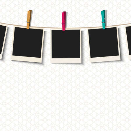 clothes peg: Photo Frames with clothespins.Vector illustration Illustration