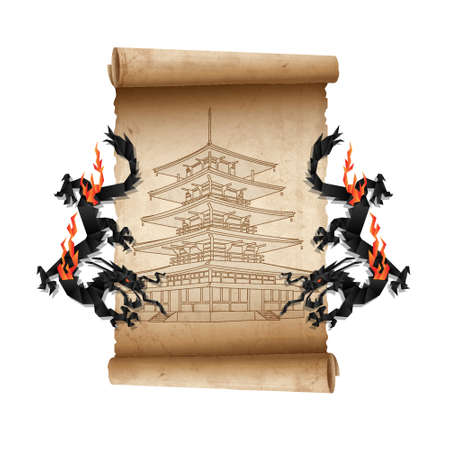 dragon vertical: Scroll of old parchment with Pagoda and Dragons. Vector illustration  Illustration