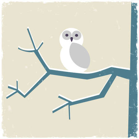 Snowy white owl  Vector illustration Vector