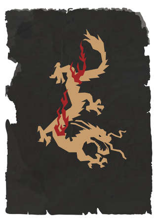 charred: Vector sheet of black torn paper with Chinese Dragon