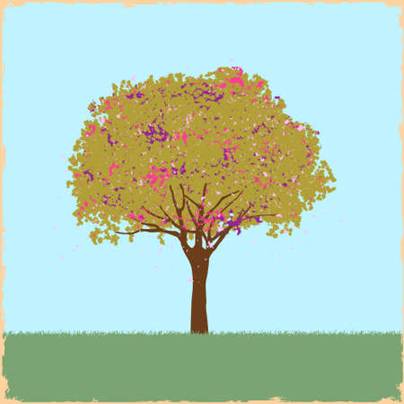 Beautiful blot tree in retro style. Vector illustration Vector