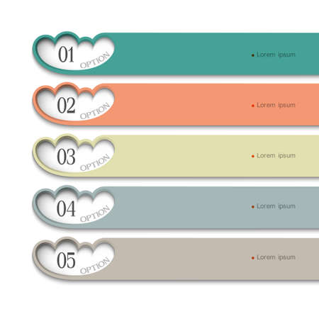 number: Design template with stylized clouds . Vector website layout