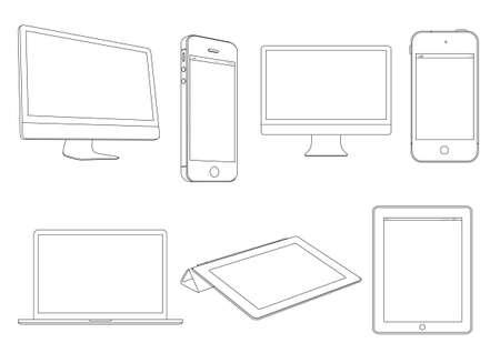 ordinateur de bureau: Num�rique devices.Vector ensemble Illustration