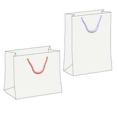 Drawing of two white shopping paper bags.  Stock Vector - 16470054