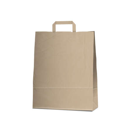 disposable: Empty Carrier brown bag on white.