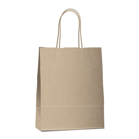 reusable: Empty shopping brown bag on white.  Illustration