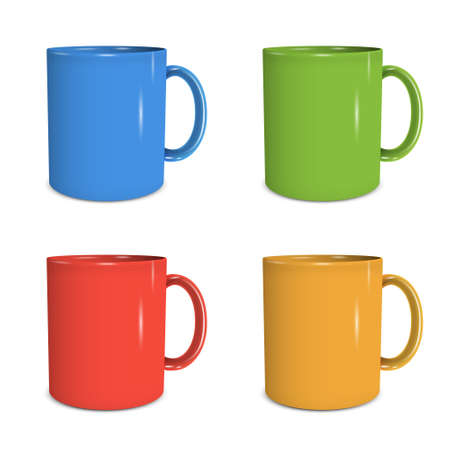 Four mugs of various colors. Stock Vector - 16470072