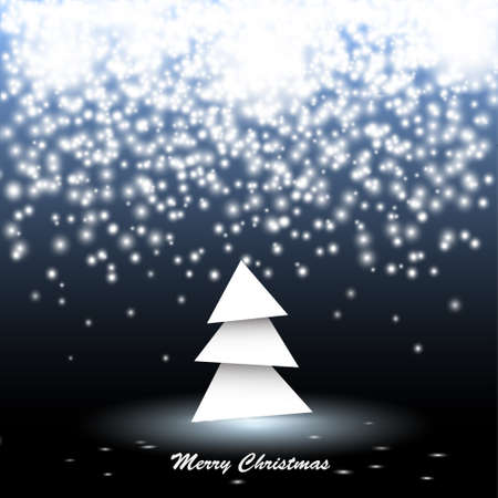 Paper christmas tree with lights. Vector illustration  Vector