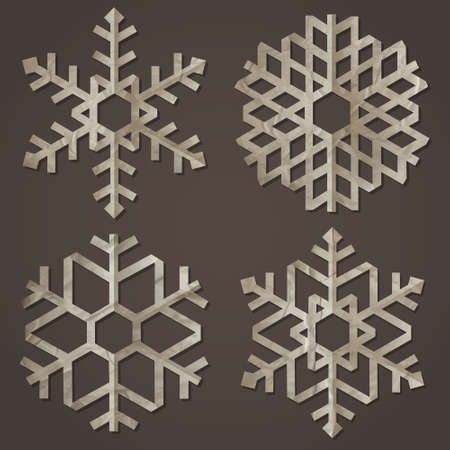 Snowflakes of old paper  Vector set Vector