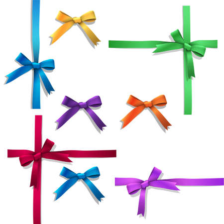 Vector set of ribbon bows Vector