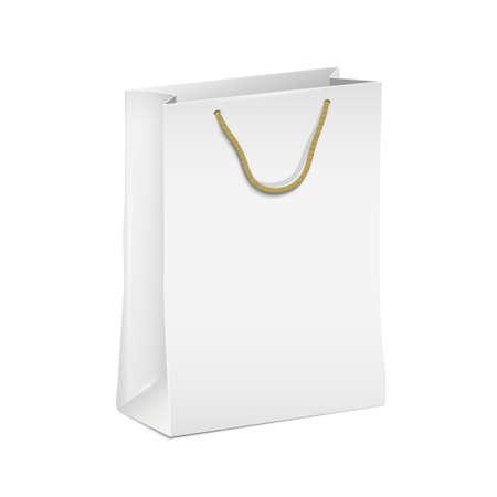 white paper bag: White shopping paper bag Illustration