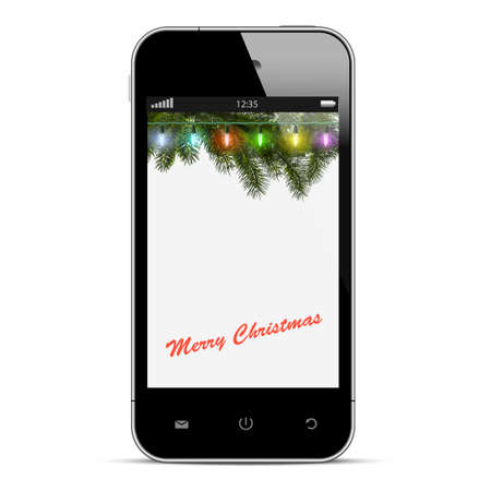 Christmas mobile phone with lights on branch of fir  illustration Vector
