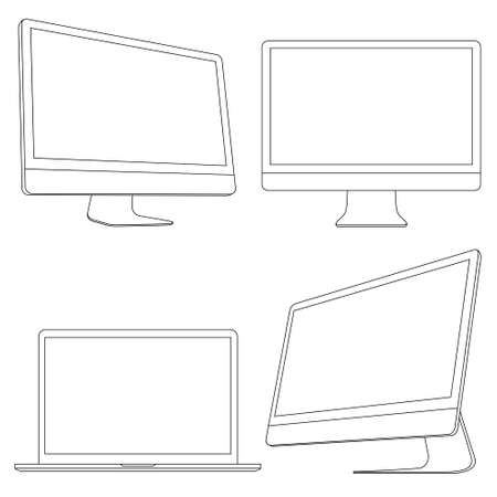 Computer displays and laptop  set Stock Vector - 16852666