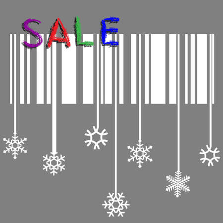 Creative winter sale with stylized snowflake and bar-code  Vector