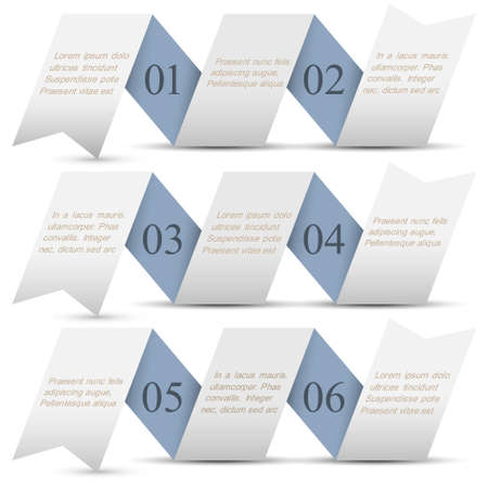 Horizontal origami paper numbered banners Trendy design template Stock Vector - 16852705