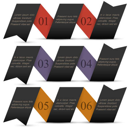 Origami black paper numbered banners design template  Stock Vector - 16852702