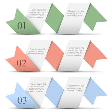 Origami paper numbered banners in pastel colors  Trendy design template Stock Vector - 16852731