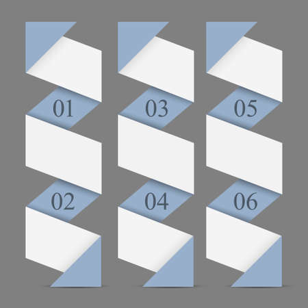 Origami paper vertical numbered banners Trendy design template  Vector