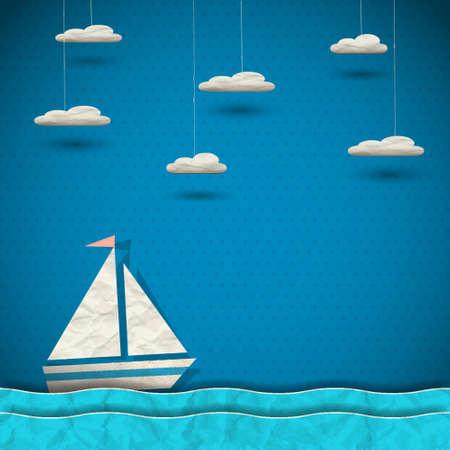 barco caricatura: Barco de vela y las nubes de arte en papel