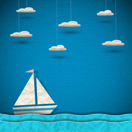 Sailing boat and clouds  paper-art  Vector