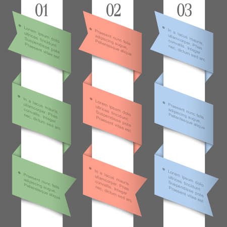 three colored: Three colored paper numbered banners. design template