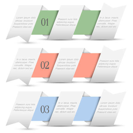 Three origami paper numbered banners in pastel colors.Trendy design template Stock Vector - 16852751