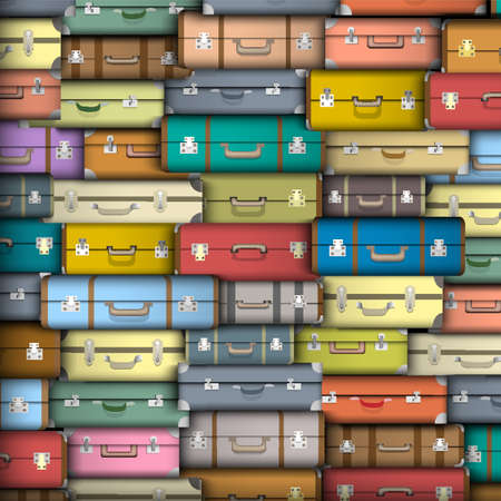 luxury travel: background of colored suitcases