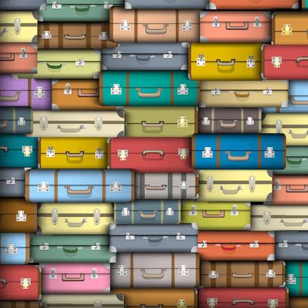 baggage: Hintergrund der farbigen Koffern Illustration