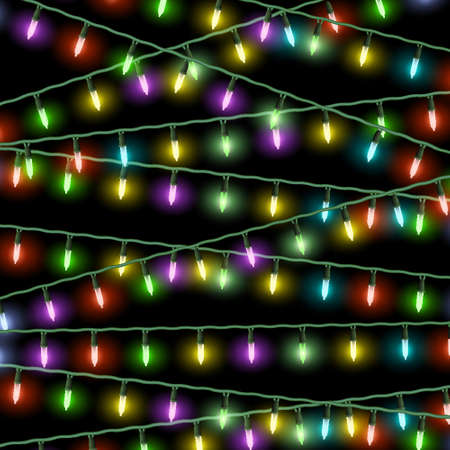 Christmas lights on black background Vector
