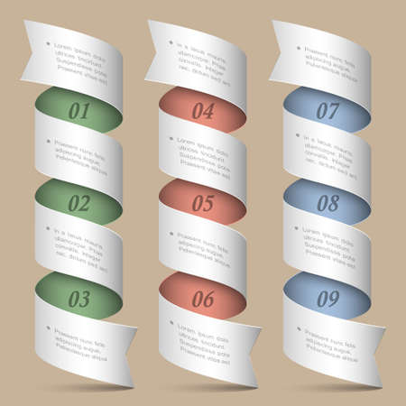 numbered ribbons-banners  Modern design template  Vector