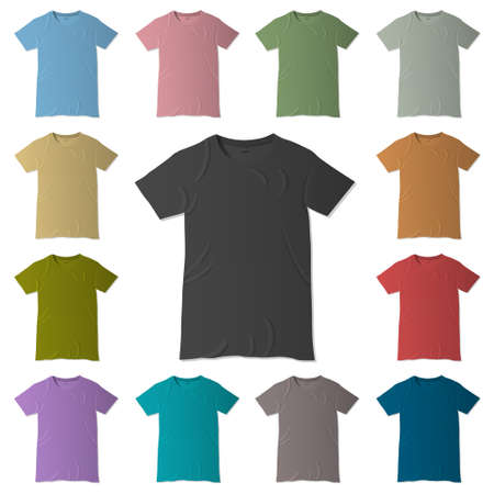 t-shirt design templates in various colors Vector