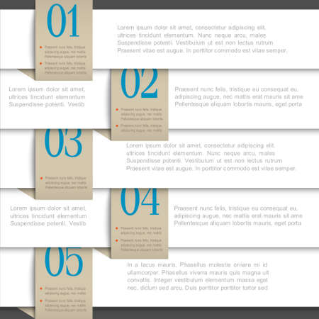 White paper numbered banners  Creative design template  Illustration