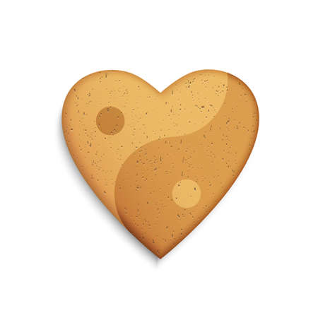ying yan: Gingerbread cookie in the shape of a heart with Yin Yang symbol