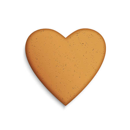 Gingerbread cookie in the shape of a heart  Vector