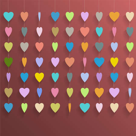 emplate: Hanging  colorful hearts  Vector background