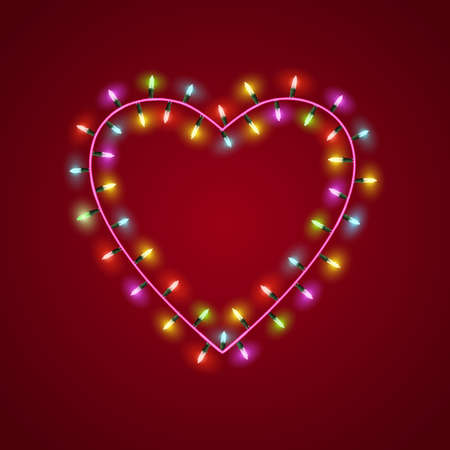 Heart shaped garland lights  Vector   Stock Vector - 17338482