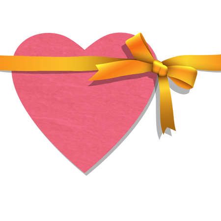 Paper heart with tied golden ribbon  Vector illustration  Vector