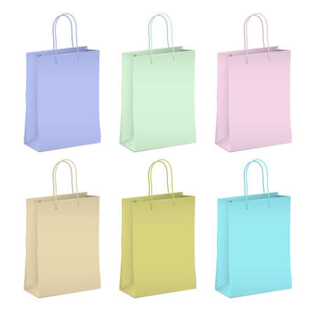 Six empty shopping paper bags in pastel colors Vector Stock Vector - 17338483