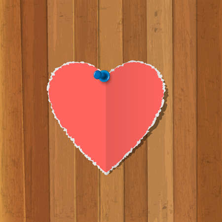 Torn paper heart  pinned on wooden background Vector Stock Vector - 17338498