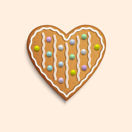 Vector Heart shaped cookie