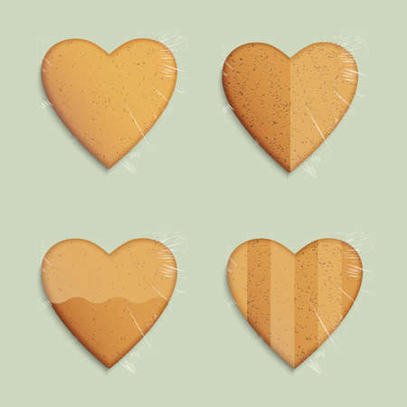 Vector set of hearts shapes cookies Vector