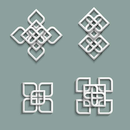 3d ornaments in arabic style  Vector set Vector