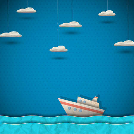 ship sign: Cruise liner and clouds  Vector paper-art