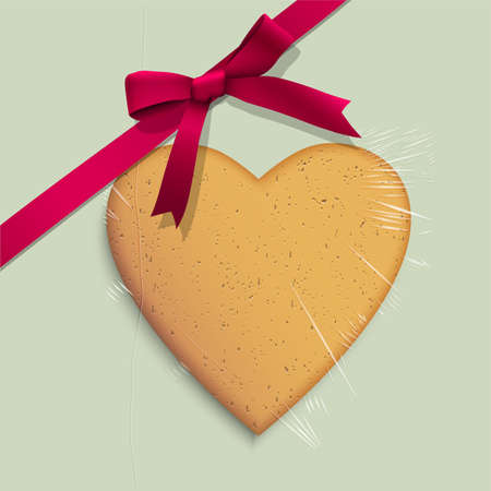 Gift box with cookie of heart shaped tied pink ribbon  Vector illustration Vector