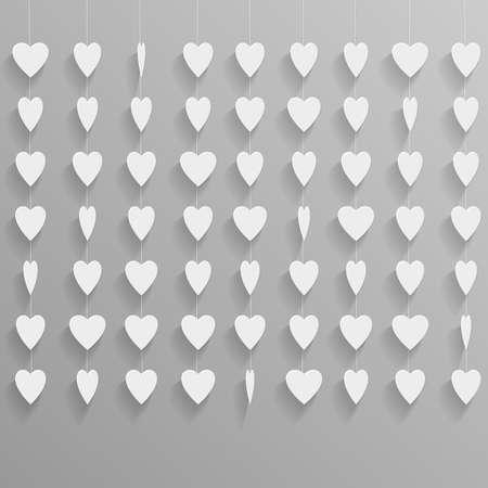 Hanging paper hearts  Vector background Stock Vector - 17338515