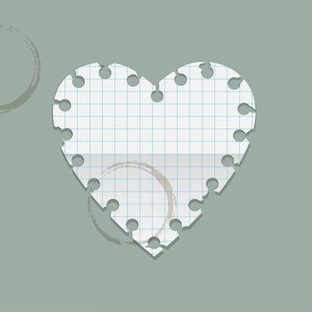 Heart paper note with coffee stains  Vector illustration Vector