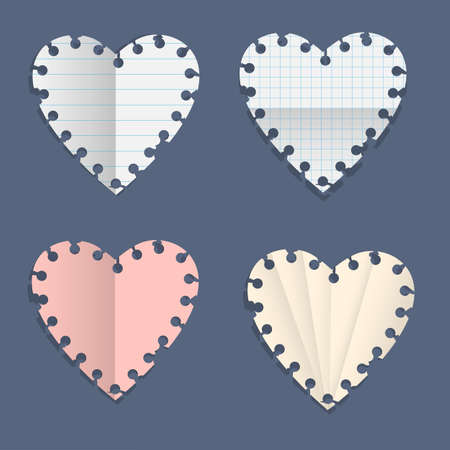 Hearts paper note  Vector set Stock Vector - 17338481