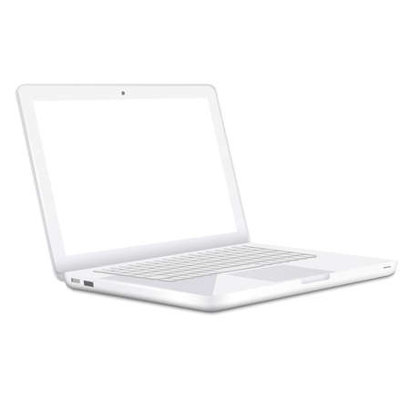 Modern white Laptop isolated on white background  Vector  Vector