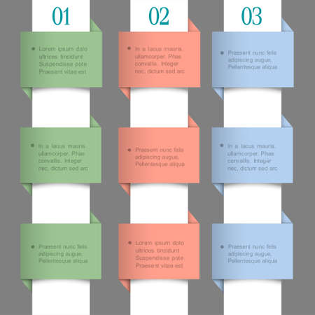 Paper numbered banners in pastel colors  Vector design template  Stock Vector - 17338487