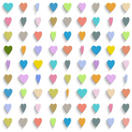 Vector background with colorful paper hearts Vector